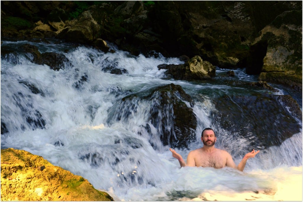 meditating in waterfall